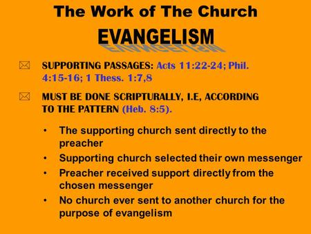 The Work of The Church *SUPPORTING PASSAGES: Acts 11:22-24; Phil. 4:15-16; 1 Thess. 1:7,8 *MUST BE DONE SCRIPTURALLY, I.E, ACCORDING TO THE PATTERN (Heb.