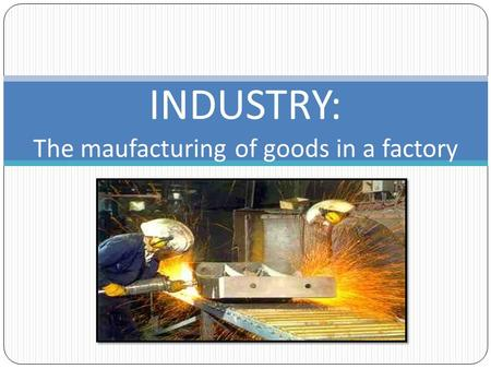 INDUSTRY: The maufacturing of goods in a factory.