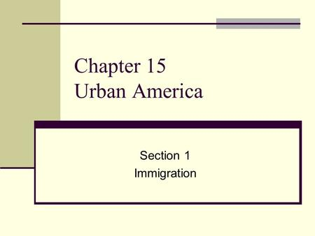 Chapter 15 Urban America Section 1 Immigration. Europeans Flood Into the U.S. By the 1890s, eastern and southern Europeans made up more than half of all.