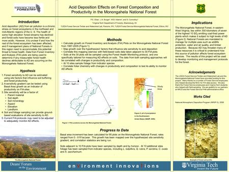 Introduction Acid deposition (AD) from air pollution is a chronic stress on forest ecosystems in the northeast and mid-Atlantic regions of the U. S. The.