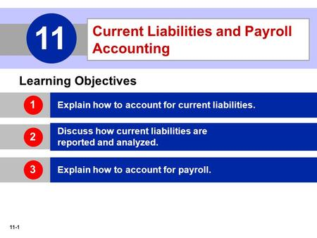 11-1 Current Liabilities and Payroll Accounting 11 Learning Objectives Explain how to account for current liabilities. Discuss how current liabilities.