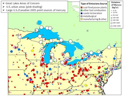 Great Lakes Areas of Concern  U.S. urban areas (pink shading)  Large U.S./Canadian 2005 point sources of mercury Type of Emissions Source coal-fired.