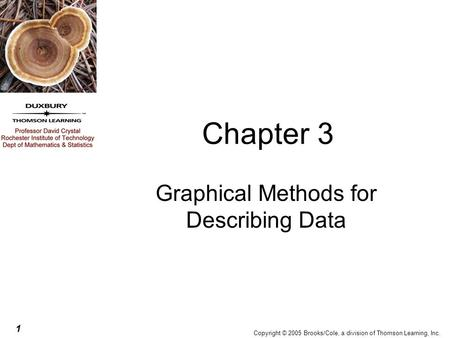 1 Copyright © 2005 Brooks/Cole, a division of Thomson Learning, Inc. Chapter 3 Graphical Methods for Describing Data.