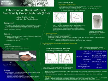 Fabrication of Alumina/Zirconia Functionally Graded Materials (FGM) Adam Sneller, Li Sun Advisor: Dr. Patrick Kwon Background: A functionally graded material.