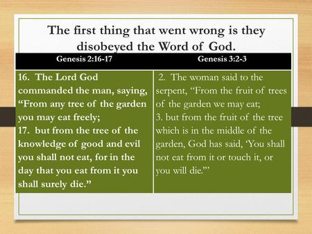 "The first thing that went wrong is they disobeyed the Word of God. Genesis 2:16-17Genesis 3:2-3 16. The Lord God commanded the man, saying, ""From any tree."