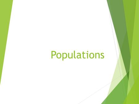 Populations.  A population consists of interbreeding members of one species living in a specific area, more or less isolated from other members of their.