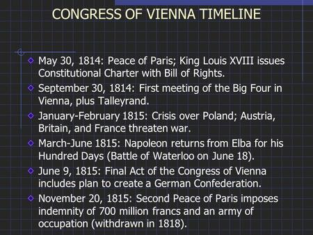 CONGRESS OF VIENNA TIMELINE May 30, 1814: Peace of Paris; King Louis XVIII issues Constitutional Charter with Bill of Rights. September 30, 1814: First.