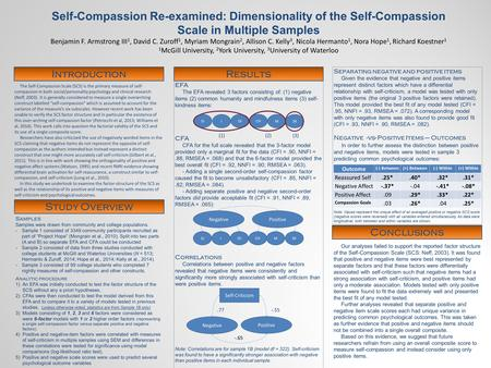 The Self-Compassion Scale (SCS) is the primary measure of self- compassion in both social/personality psychology and clinical research (Neff, 2003). It.
