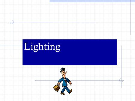 Lighting. Types of Light Incident: comes directly from the light source Reflected: has come in contact with some other material before entering our field.
