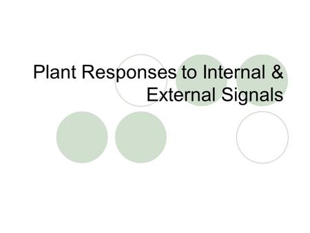 Plant Responses to Internal & External Signals. Plant Hormones Hormones are chemical signals that coordinate the various parts of an organism  A hormone.