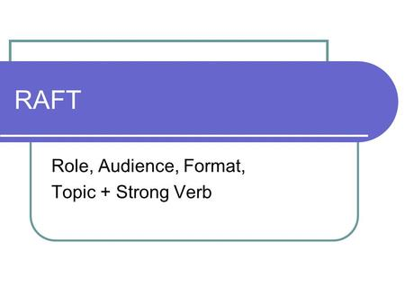 RAFT Role, Audience, Format, Topic + Strong Verb.