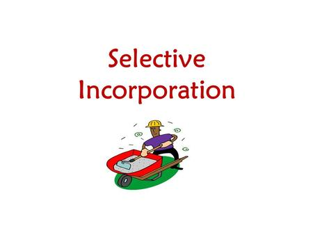 Selective Incorporation. Rationale: 1. Critical concept to know 2. Included frequently in multiple choice section 3. Repeated again, again, and again.