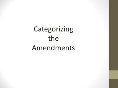Categorizing the Amendments. Suffrage Amendments: 15, 19, 23, 24, 26 15: The right of citizens of the United States to vote shall not be denied or abridged.