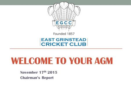 WELCOME TO YOUR AGM November 17 th 2015 Chairman's Report.
