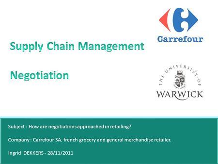 Strategic Supply Chain Management Negotiation