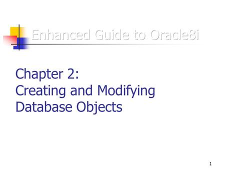 1 Chapter 2: Creating and Modifying Database Objects.