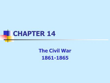 CHAPTER 14 The Civil War 1861-1865. The War Begins Lincoln's Inaugural Address: no intention of interfering with slavery; did not want to break up Union.