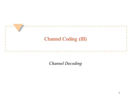 1 Channel Coding (III) Channel Decoding. ECED4504 2 of 15 Topics today u Viterbi decoding –trellis diagram –surviving path –ending the decoding u Soft.