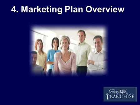 4. Marketing Plan Overview. The Personal Franchise allows you to Leverage your Time You Qualified business, (27 Premium Plus Customers) Earn about.