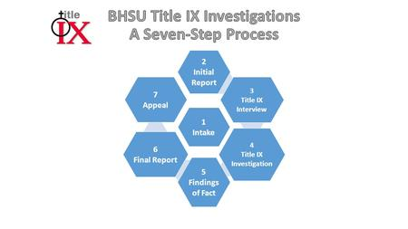 1 Intake 2 Initial Report 3 Title IX Interview 4 Title IX Investigation 5 Findings of Fact 6 Final Report 7 Appeal.