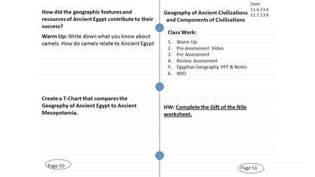 Page 51 Geography of Ancient Civilizations and Components of Civilizations Page 50 Warm Up: Write down what you know about camels. How do camels relate.