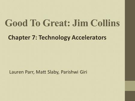 Good To Great: Jim Collins