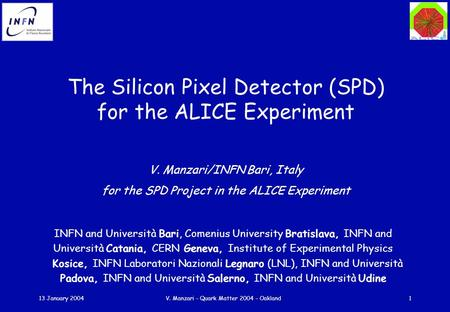 13 January 2004V. Manzari - Quark Matter 2004 - Oakland1 The Silicon Pixel Detector (SPD) for the ALICE Experiment V. Manzari/INFN Bari, Italy for the.