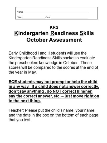 Kindergarten Readiness Skills October Assessment