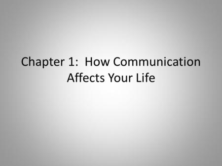 Chapter 1: How Communication Affects Your Life. Communication: the process of sending and receiving messages to achieve understanding.