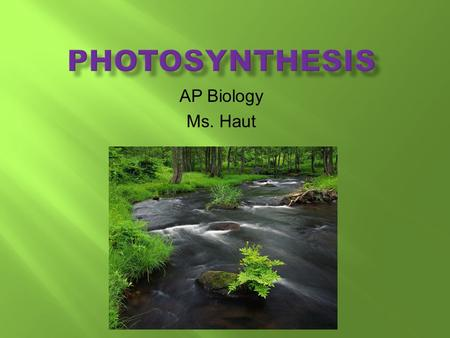 AP Biology Ms. Haut. Light energy enzymes  Photosynthesis is the process that converts solar energy into chemical energy  Directly or indirectly, photosynthesis.