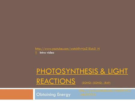 PHOTOSYNTHESIS & LIGHT REACTIONSPHOTOSYNTHESIS & LIGHT REACTIONS (SONG) (SONG) (RAP) (SONG) (RAP) Obtaining Energy  _uez5WX1o.