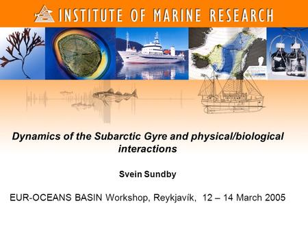 Dynamics of the Subarctic Gyre and physical/biological interactions Svein Sundby EUR-OCEANS BASIN Workshop, Reykjavík, 12 – 14 March 2005.