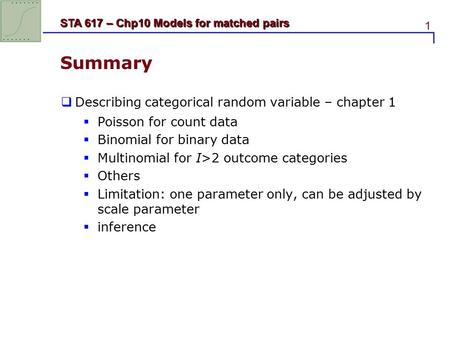 1 STA 617 – Chp10 Models for matched pairs Summary  Describing categorical random variable – chapter 1  Poisson for count data  Binomial for binary.