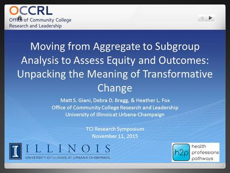 Moving from Aggregate to Subgroup Analysis to Assess Equity and Outcomes: Unpacking the Meaning of Transformative Change Matt S. Giani, Debra D. Bragg,