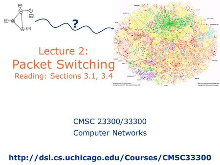 Lecture 2: Packet Switching Reading: Sections 3.1, 3.4 CMSC 23300/33300 Computer Networks  ?