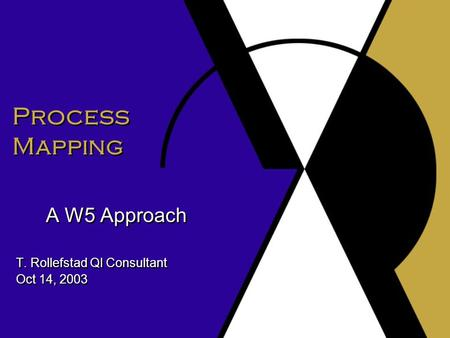 Process Mapping A W5 Approach T. Rollefstad QI Consultant Oct 14, 2003 A W5 Approach T. Rollefstad QI Consultant Oct 14, 2003.