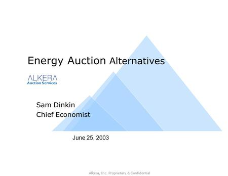 Auction Services Alkera, Inc. Proprietary & Confidential June 25, 2003 Energy Auction Alternatives Sam Dinkin Chief Economist.