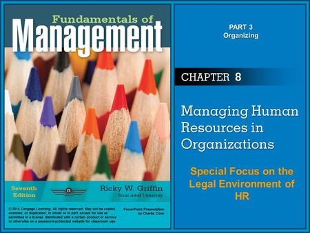 Special Focus on the Legal Environment of HR. The Environmental Context of Human Resource Management Human Resource Management (HRM) –The set of organizational.