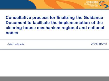 Consultative process for finalizing the Guidance Document to facilitate the implementation of the clearing-house mechanism regional and national nodes.