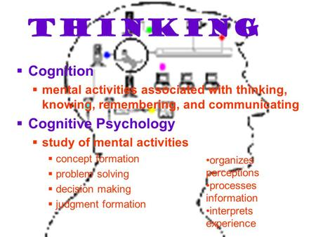 Thinking  Cognition  mental activities associated with thinking, knowing, remembering, and communicating  Cognitive Psychology  study of mental activities.
