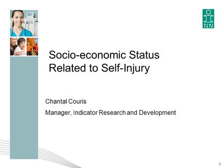 Socio-economic Status Related to Self-Injury Chantal Couris Manager, Indicator Research and Development 1.