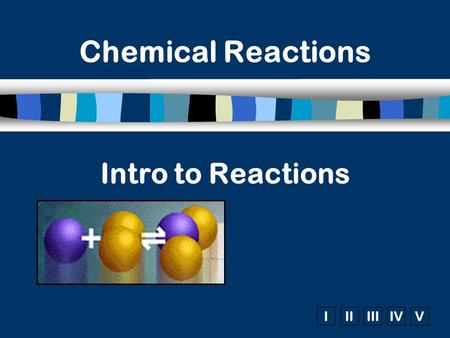 IIIIIIIVV Intro to Reactions Chemical Reactions. Signs of a Chemical Reaction n Evolution of heat and light n Formation of a gas n Formation of a precipitate.