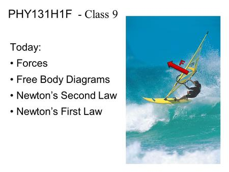 PHY131H1F - Class 9 Today: Forces Free Body Diagrams Newton's Second Law Newton's First Law.