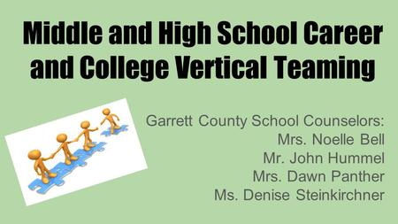 Middle and High School Career and College Vertical Teaming Garrett County School Counselors: Mrs. Noelle Bell Mr. John Hummel Mrs. Dawn Panther Ms. Denise.