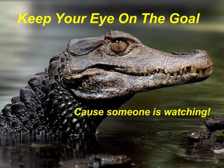 Keep Your Eye On The Goal Cause someone is watching!