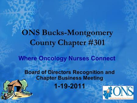 ONS Bucks-Montgomery County Chapter #301 Board of Directors Recognition and Chapter Business Meeting 1-19-2011 Where Oncology Nurses Connect.