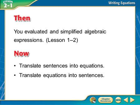 You evaluated and simplified algebraic expressions. (Lesson 1–2)
