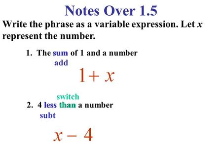 Notes Over 1.5 Write the phrase as a variable expression. Let x represent the number. 1. The sum of 1 and a number sum add switch 2. 4 less than a number.