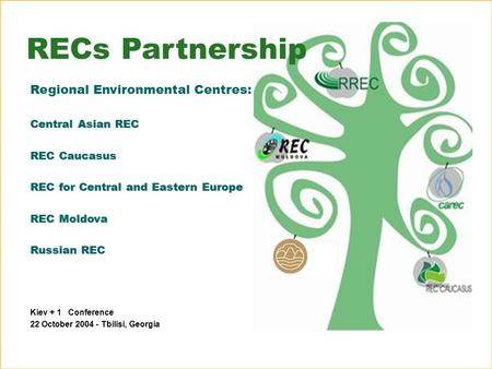 Kiev + 1 Conference 22 October 2004 - Tbilisi, Georgia RECs Partnership Regional Environmental Centres: Central Asian REC REC Caucasus REC for Central.