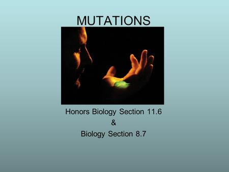 MUTATIONS Honors Biology Section 11.6 & Biology Section 8.7 Revised 2011.